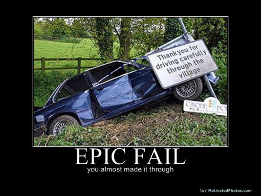 epic fail car crash